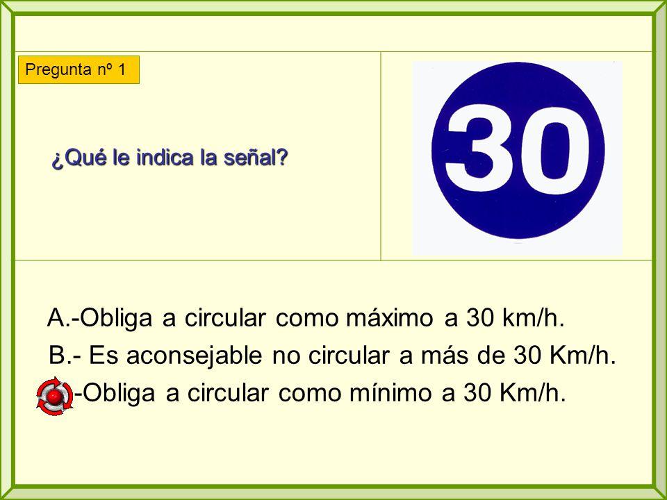 ¿Qué le indica la señal.¿Qué le indica la señal. A.-Obliga a circular como máximo a 30 km/h.