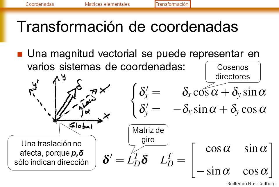 CoordenadasMatrices elementalesTransformación Guillermo Rus Carlborg Transformación de coordenadas Una magnitud vectorial se puede representar en vari