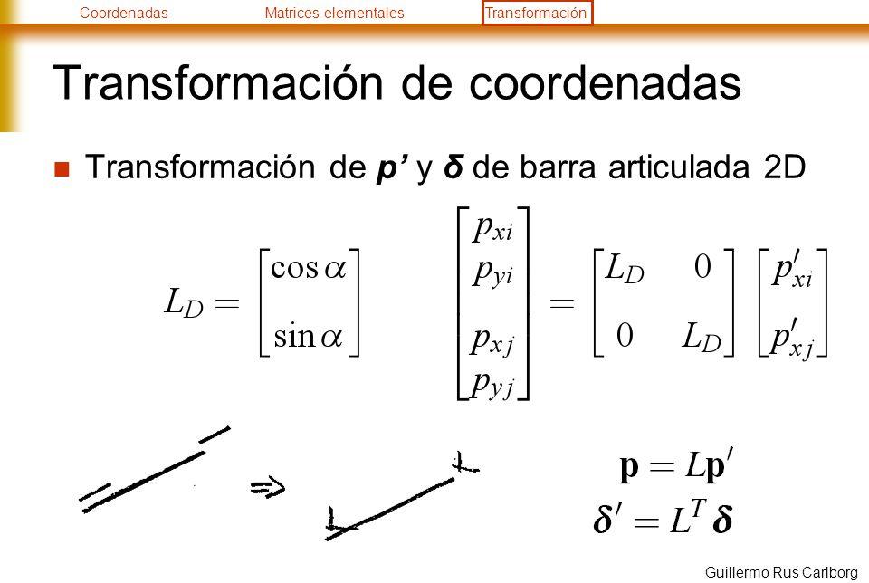 CoordenadasMatrices elementalesTransformación Guillermo Rus Carlborg Transformación de coordenadas Transformación de p y δ de barra articulada 2D
