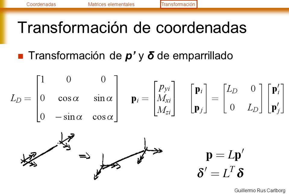 CoordenadasMatrices elementalesTransformación Guillermo Rus Carlborg Transformación de coordenadas Transformación de p y δ de emparrillado