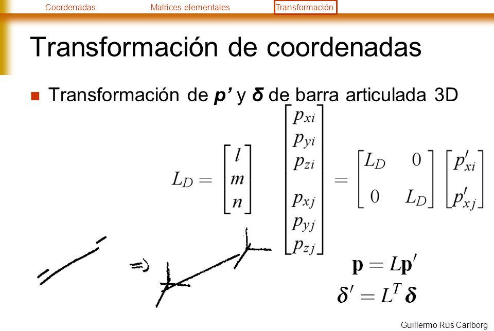 CoordenadasMatrices elementalesTransformación Guillermo Rus Carlborg Transformación de coordenadas Transformación de p y δ de barra articulada 3D