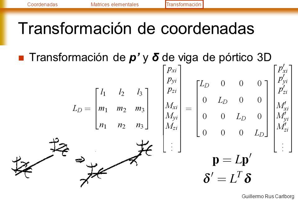 CoordenadasMatrices elementalesTransformación Guillermo Rus Carlborg Transformación de coordenadas Transformación de p y δ de viga de pórtico 3D