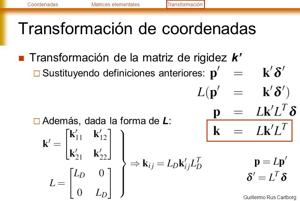 CoordenadasMatrices elementalesTransformación Guillermo Rus Carlborg Transformación de coordenadas Transformación de la matriz de rigidez k Sustituyen