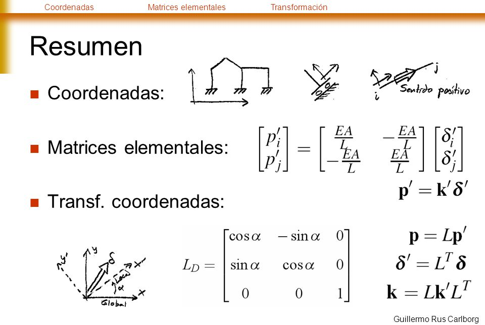 CoordenadasMatrices elementalesTransformación Guillermo Rus Carlborg Resumen Coordenadas: Matrices elementales: Transf. coordenadas: