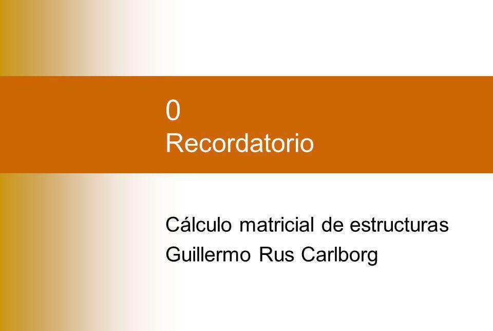 Álgebra matricialElasticidad Guillermo Rus Carlborg Índice Álgebra matricial Definición Operaciones (+ – × ÷) Elasticidad Desplazamientos + deformaciones Tensiones + Esfuerzos Relaciones constitutivas