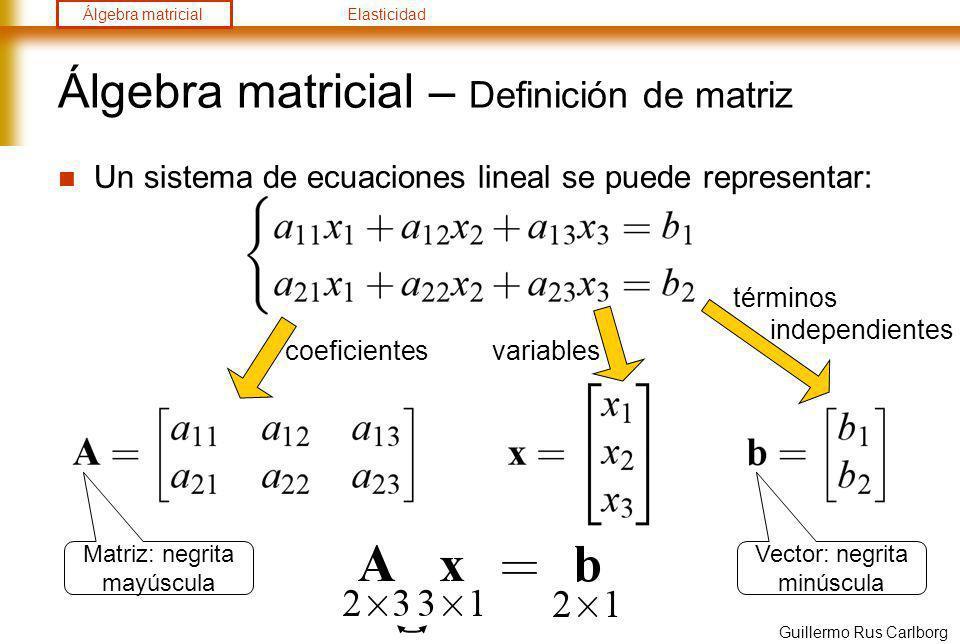 Álgebra matricialElasticidad Guillermo Rus Carlborg Álgebra matricial – Definición de matriz Algunos casos particulares de matriz A tienen nombre: Traspuesta Cuadrada Simétrica Identidad