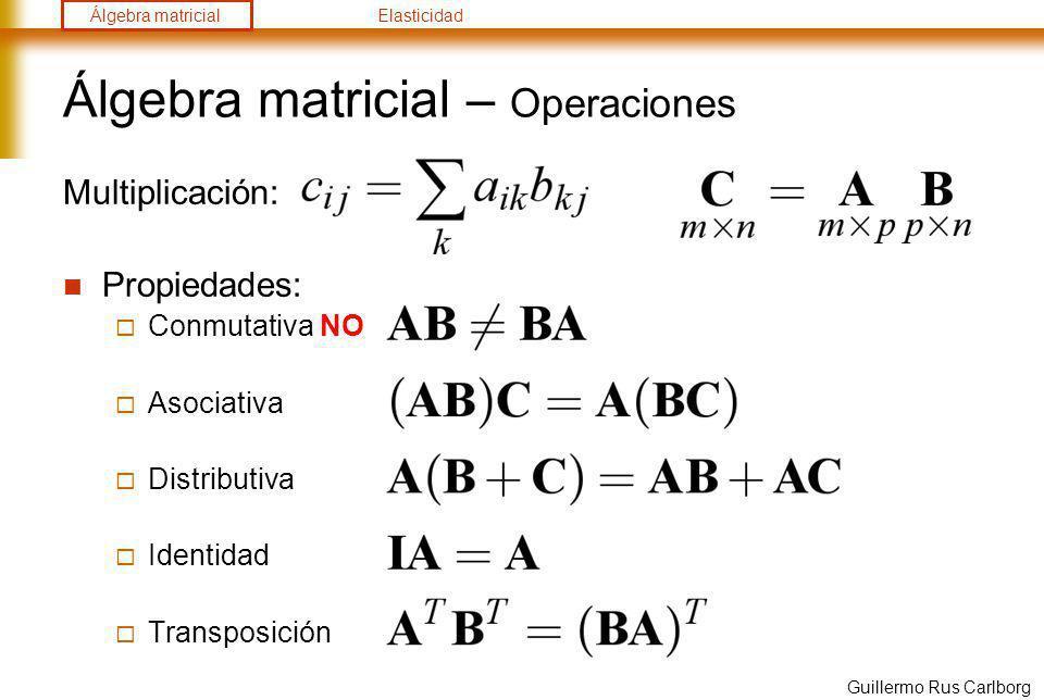 Álgebra matricialElasticidad Guillermo Rus Carlborg Álgebra matricial – Operaciones Suma y resta: Determinante: término a término submatriz: eliminando fila 1, columna i