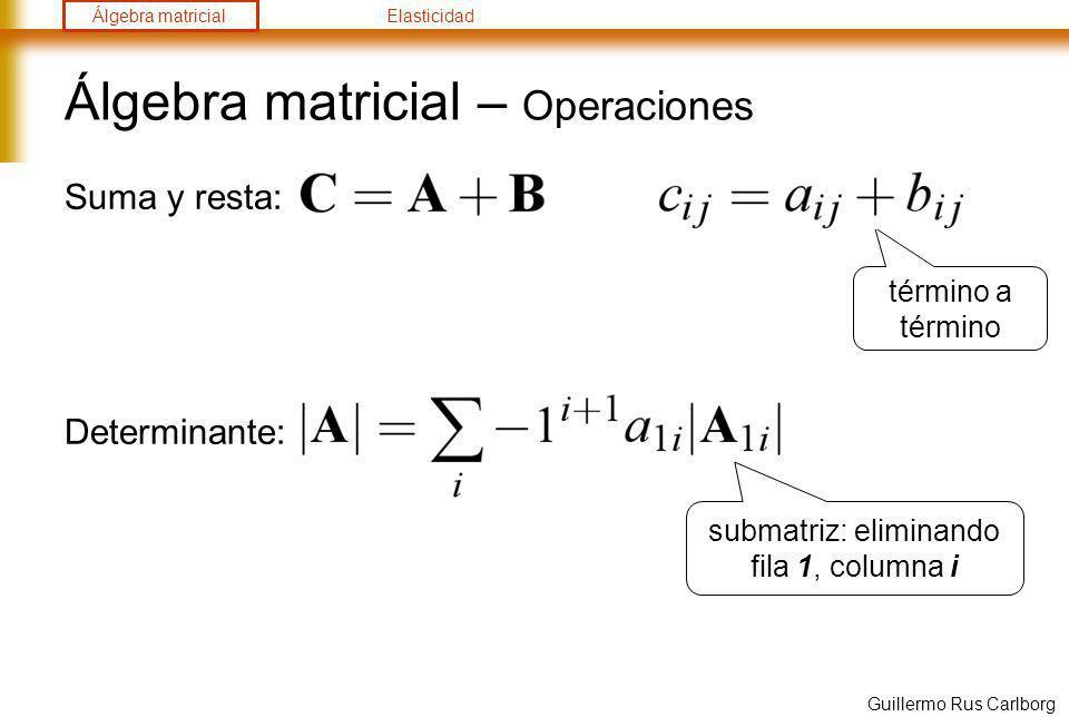 Álgebra matricialElasticidad Guillermo Rus Carlborg Álgebra matricial – Operaciones Inversa: Condiciones: Propiedades: