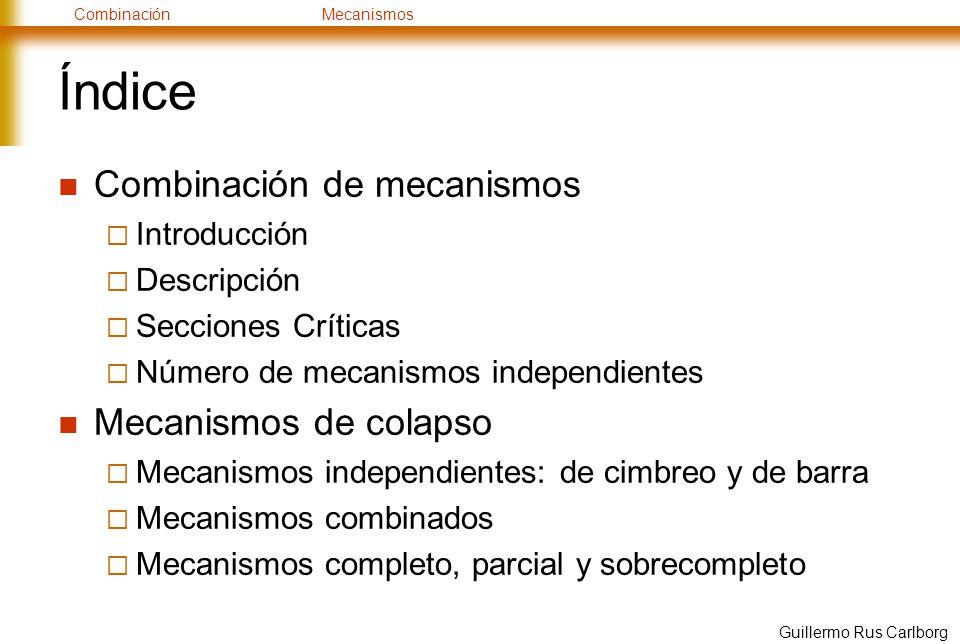 CombinaciónMecanismos Guillermo Rus Carlborg Índice Combinación de mecanismos Introducción Descripción Secciones Críticas Número de mecanismos indepen