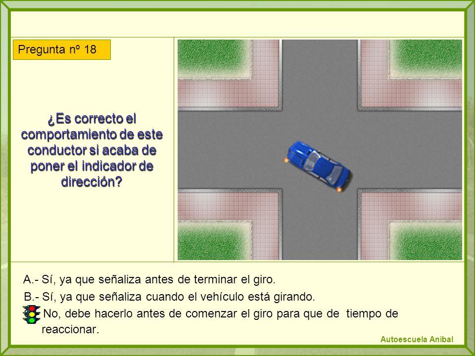 ¿Es correcto el comportamiento de este conductor si acaba de poner el indicador de dirección? A.- Sí, ya que señaliza antes de terminar el giro. B.- S