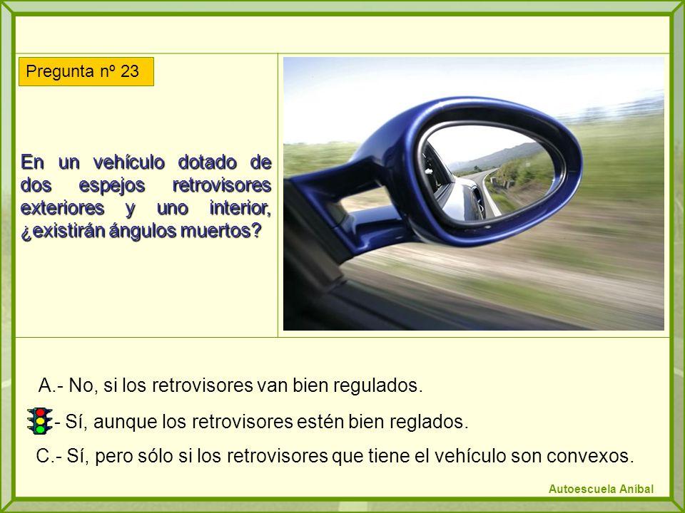 En un vehículo dotado de dos espejos retrovisores exteriores y uno interior, ¿existirán ángulos muertos? A.- No, si los retrovisores van bien regulado