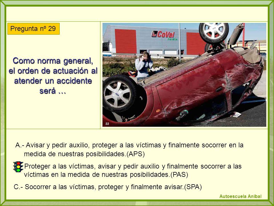 Como norma general, el orden de actuación al atender un accidente será … A.- Avisar y pedir auxilio, proteger a las víctimas y finalmente socorrer en