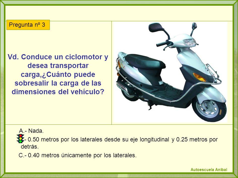 Vd. Conduce un ciclomotor y desea transportar carga,¿Cuánto puede sobresalir la carga de las dimensiones del vehículo? A.- Nada. B.- 0.50 metros por l