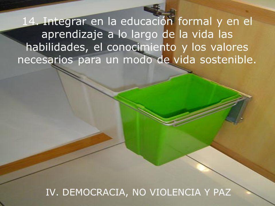 IV. DEMOCRACIA, NO VIOLENCIA Y PAZ 13. Fortalecer las instituciones democráticas en todos los niveles y brindar transparencia y rendimiento de cuentas