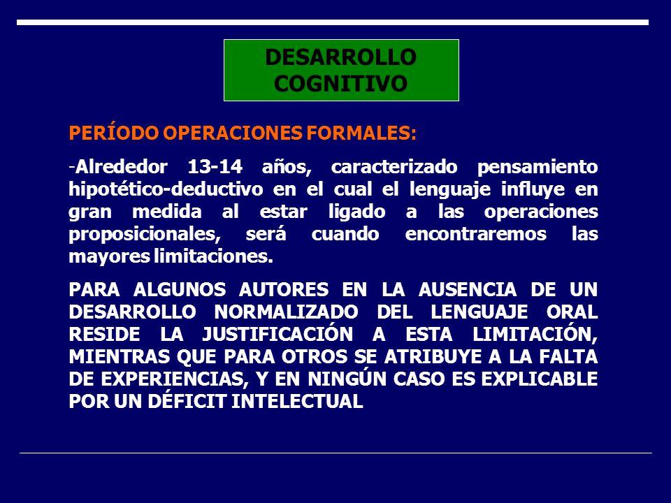 DESARROLLO COGNITIVO PERÍODO OPERACIONES FORMALES: -Alrededor 13-14 años, caracterizado pensamiento hipotético-deductivo en el cual el lenguaje influy