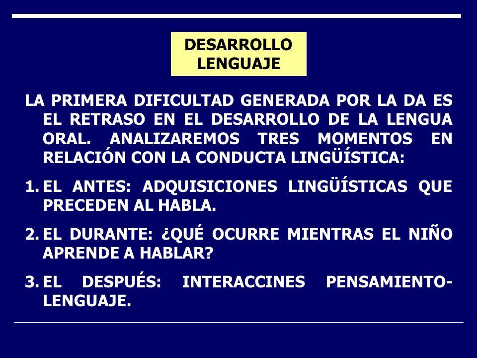 DESARROLLO LENGUAJE LA PRIMERA DIFICULTAD GENERADA POR LA DA ES EL RETRASO EN EL DESARROLLO DE LA LENGUA ORAL.