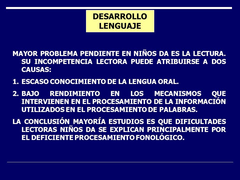 DESARROLLO LENGUAJE MAYOR PROBLEMA PENDIENTE EN NIÑOS DA ES LA LECTURA.