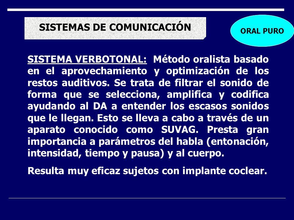 SISTEMAS DE COMUNICACIÓN SISTEMA VERBOTONAL: Método oralista basado en el aprovechamiento y optimización de los restos auditivos. Se trata de filtrar