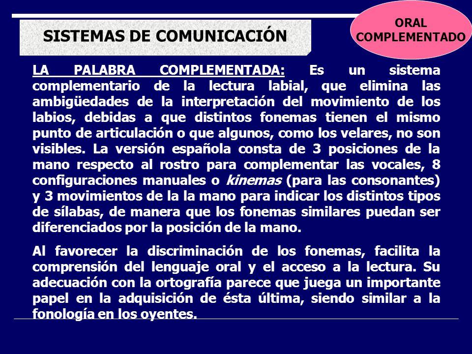 SISTEMAS DE COMUNICACIÓN LA PALABRA COMPLEMENTADA: Es un sistema complementario de la lectura labial, que elimina las ambigüedades de la interpretación del movimiento de los labios, debidas a que distintos fonemas tienen el mismo punto de articulación o que algunos, como los velares, no son visibles.