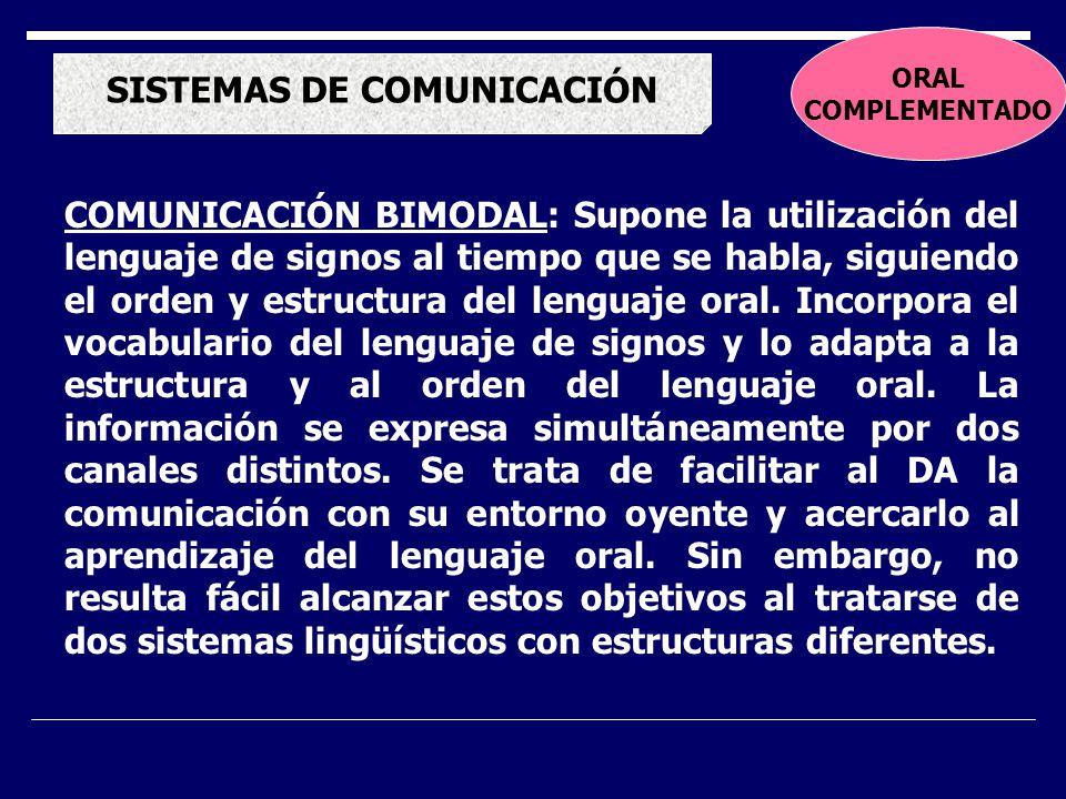 SISTEMAS DE COMUNICACIÓN COMUNICACIÓN BIMODAL: Supone la utilización del lenguaje de signos al tiempo que se habla, siguiendo el orden y estructura del lenguaje oral.