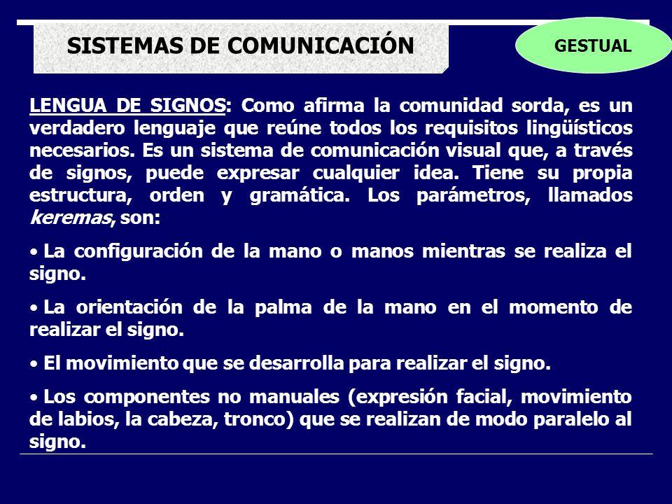 SISTEMAS DE COMUNICACIÓN GESTUAL LENGUA DE SIGNOS: Como afirma la comunidad sorda, es un verdadero lenguaje que reúne todos los requisitos lingüísticos necesarios.