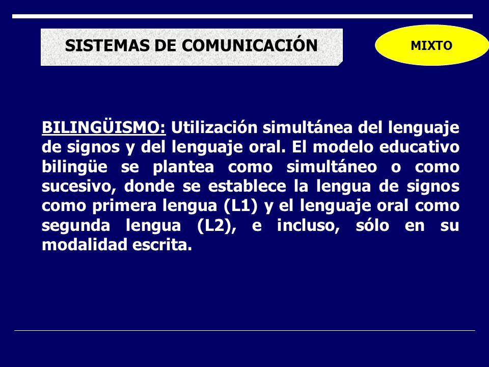 MIXTO SISTEMAS DE COMUNICACIÓN BILINGÜISMO: Utilización simultánea del lenguaje de signos y del lenguaje oral.