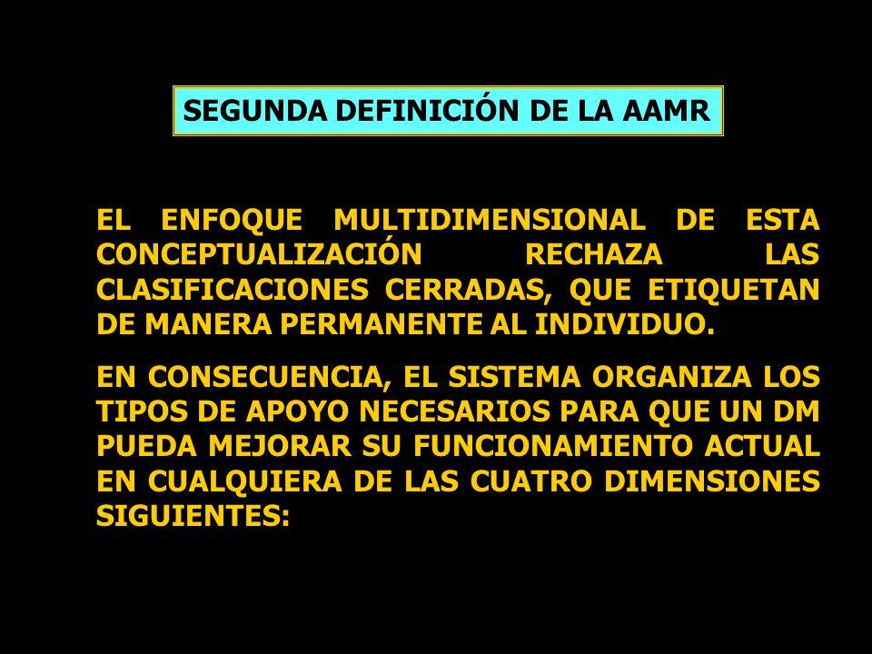 SEGUNDA DEFINICIÓN DE LA AAMR EL ENFOQUE MULTIDIMENSIONAL DE ESTA CONCEPTUALIZACIÓN RECHAZA LAS CLASIFICACIONES CERRADAS, QUE ETIQUETAN DE MANERA PERM