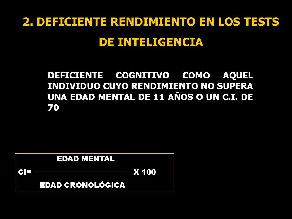 2. DEFICIENTE RENDIMIENTO EN LOS TESTS DE INTELIGENCIA DEFICIENTE COGNITIVO COMO AQUEL INDIVIDUO CUYO RENDIMIENTO NO SUPERA UNA EDAD MENTAL DE 11 AÑOS