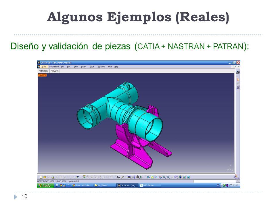 Algunos Ejemplos (Reales) 10 Diseño y validación de piezas ( CATIA + NASTRAN + PATRAN ):