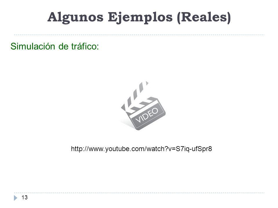 Algunos Ejemplos (Reales) 13 Simulación de tráfico: http://www.youtube.com/watch?v=S7iq-ufSpr8