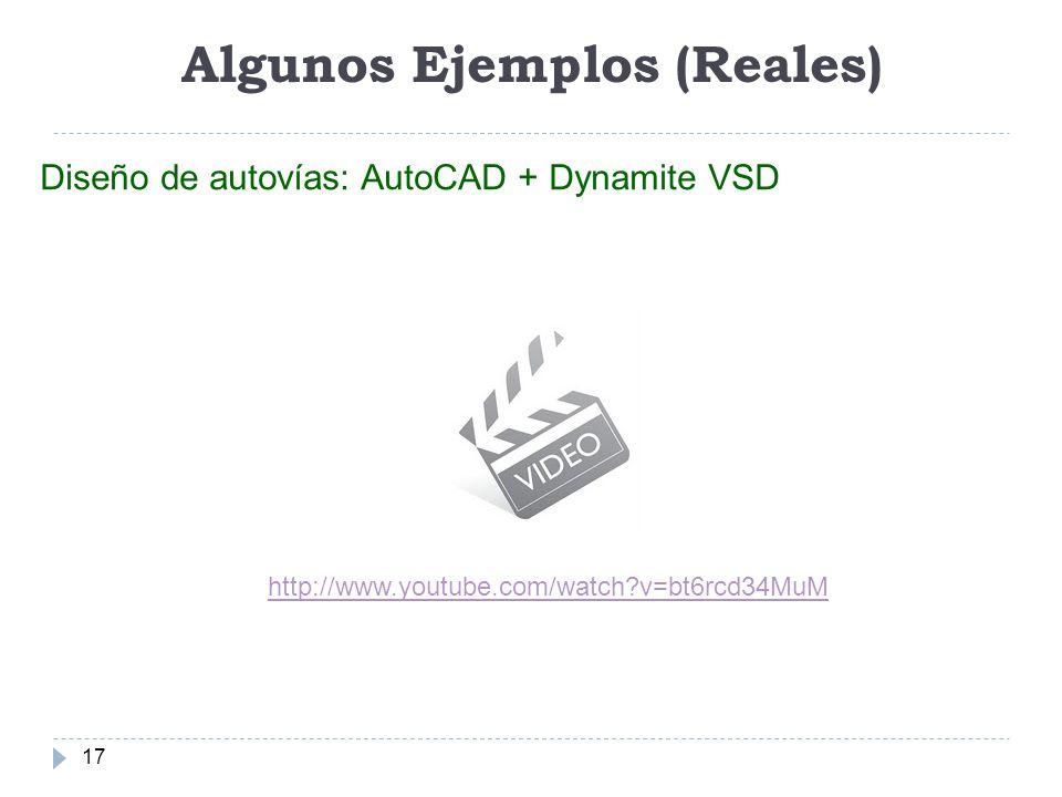 Algunos Ejemplos (Reales) 17 Diseño de autovías: AutoCAD + Dynamite VSD http://www.youtube.com/watch?v=bt6rcd34MuM