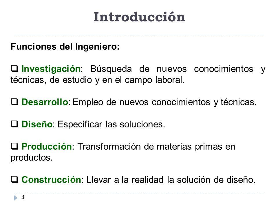 Introducción 4 Funciones del Ingeniero: Investigación: Búsqueda de nuevos conocimientos y técnicas, de estudio y en el campo laboral. Desarrollo: Empl