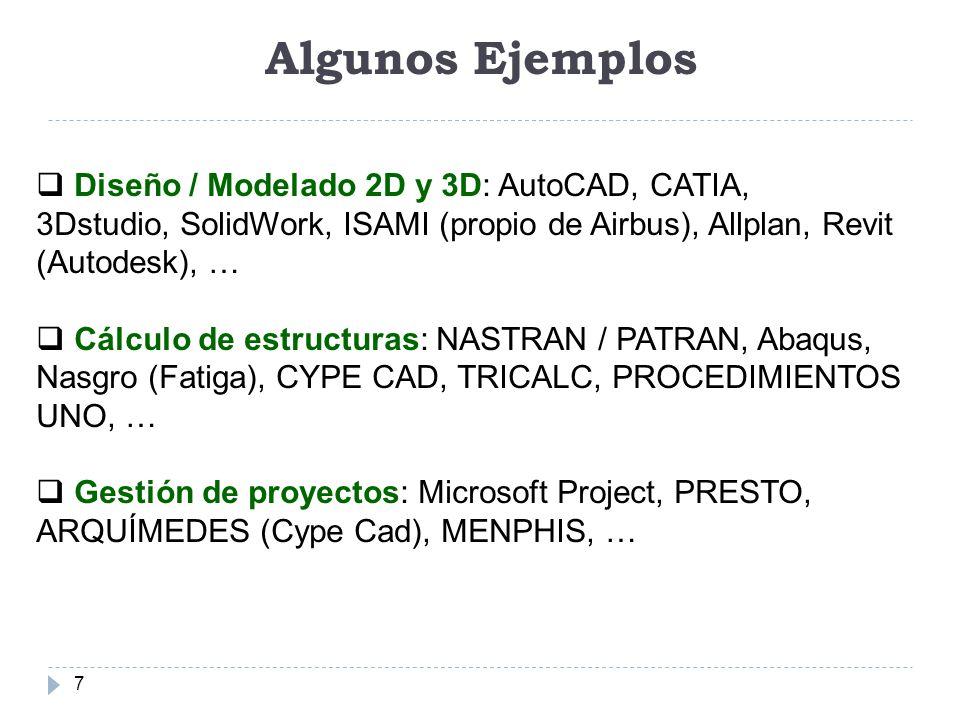Algunos Ejemplos 7 Diseño / Modelado 2D y 3D: AutoCAD, CATIA, 3Dstudio, SolidWork, ISAMI (propio de Airbus), Allplan, Revit (Autodesk), … Cálculo de e