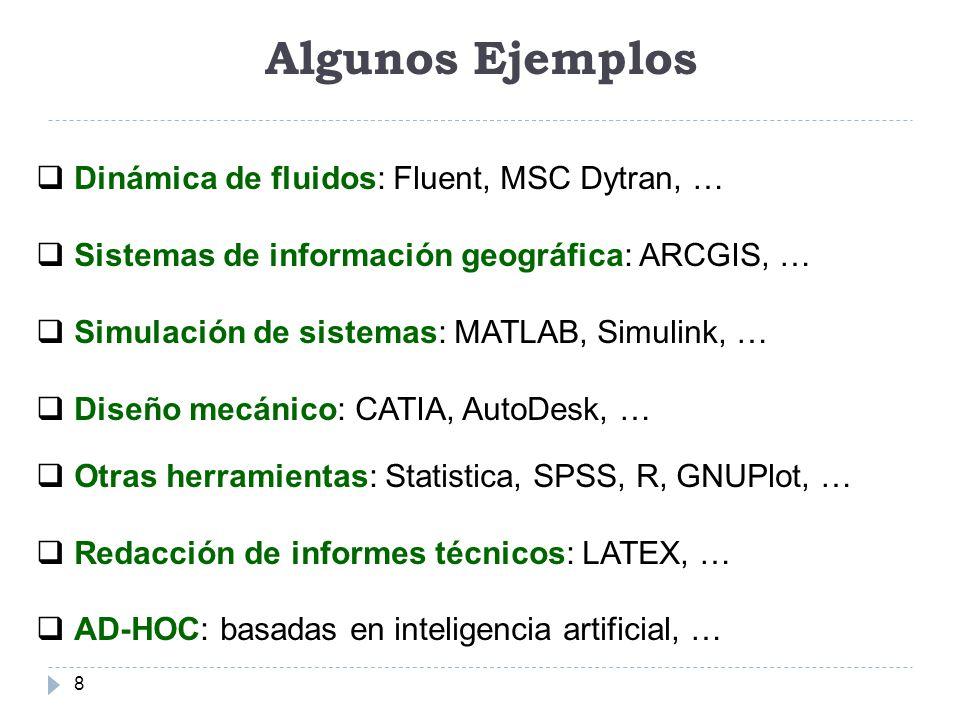 Algunos Ejemplos 8 Dinámica de fluidos: Fluent, MSC Dytran, … Sistemas de información geográfica: ARCGIS, … Simulación de sistemas: MATLAB, Simulink,