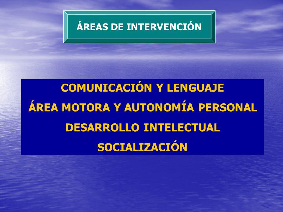 ÁREAS DE INTERVENCIÓN COMUNICACIÓN Y LENGUAJE ÁREA MOTORA Y AUTONOMÍA PERSONAL DESARROLLO INTELECTUAL SOCIALIZACIÓN