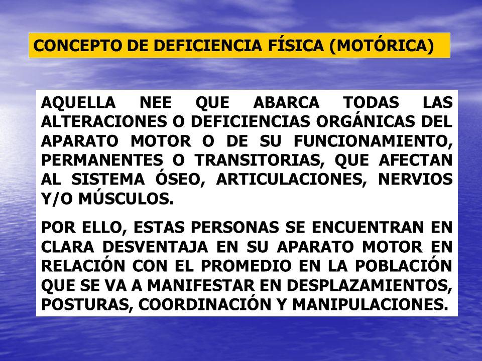 CONCEPTO DE DEFICIENCIA FÍSICA (MOTÓRICA) AQUELLA NEE QUE ABARCA TODAS LAS ALTERACIONES O DEFICIENCIAS ORGÁNICAS DEL APARATO MOTOR O DE SU FUNCIONAMIE
