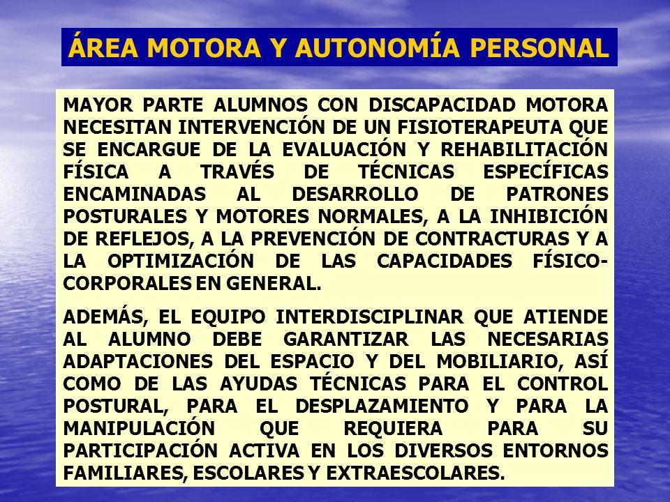 ÁREA MOTORA Y AUTONOMÍA PERSONAL MAYOR PARTE ALUMNOS CON DISCAPACIDAD MOTORA NECESITAN INTERVENCIÓN DE UN FISIOTERAPEUTA QUE SE ENCARGUE DE LA EVALUAC