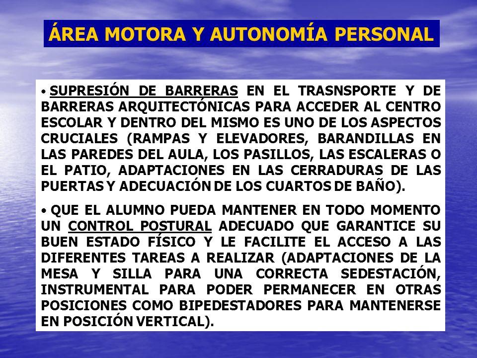 ÁREA MOTORA Y AUTONOMÍA PERSONAL SUPRESIÓN DE BARRERAS EN EL TRASNSPORTE Y DE BARRERAS ARQUITECTÓNICAS PARA ACCEDER AL CENTRO ESCOLAR Y DENTRO DEL MIS