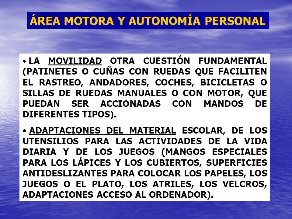 ÁREA MOTORA Y AUTONOMÍA PERSONAL LA MOVILIDAD OTRA CUESTIÓN FUNDAMENTAL (PATINETES O CUÑAS CON RUEDAS QUE FACILITEN EL RASTREO, ANDADORES, COCHES, BIC