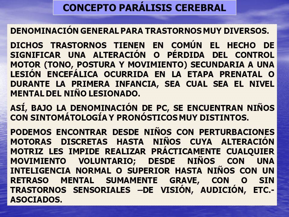 CONCEPTO PARÁLISIS CEREBRAL DENOMINACIÓN GENERAL PARA TRASTORNOS MUY DIVERSOS. DICHOS TRASTORNOS TIENEN EN COMÚN EL HECHO DE SIGNIFICAR UNA ALTERACIÓN