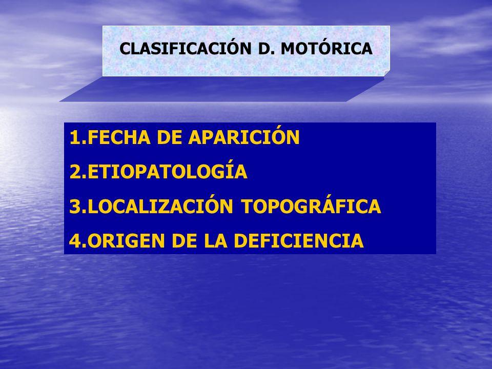 CLASIFICACIÓN D. MOTÓRICA 1.FECHA DE APARICIÓN 2.ETIOPATOLOGÍA 3.LOCALIZACIÓN TOPOGRÁFICA 4.ORIGEN DE LA DEFICIENCIA