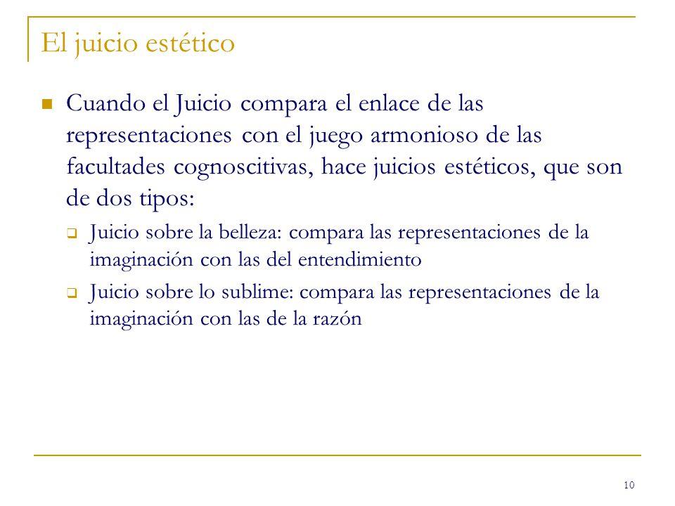10 El juicio estético Cuando el Juicio compara el enlace de las representaciones con el juego armonioso de las facultades cognoscitivas, hace juicios