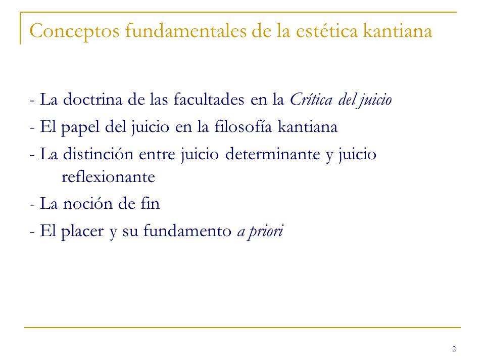 2 Conceptos fundamentales de la estética kantiana - La doctrina de las facultades en la Crítica del juicio - El papel del juicio en la filosofía kanti