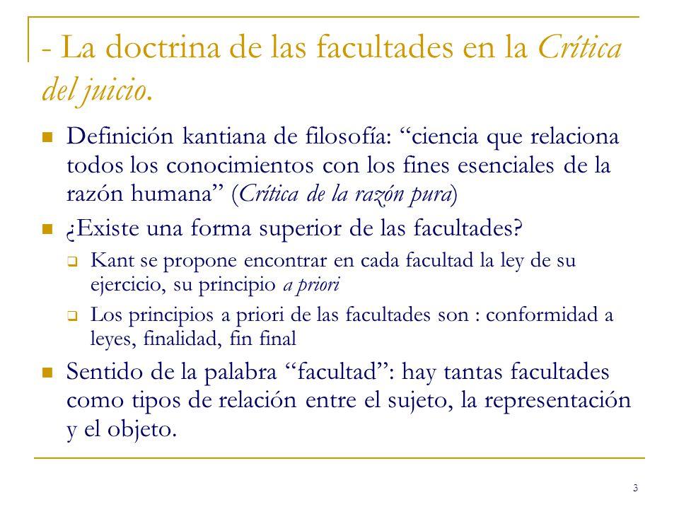 3 - La doctrina de las facultades en la Crítica del juicio. Definición kantiana de filosofía: ciencia que relaciona todos los conocimientos con los fi