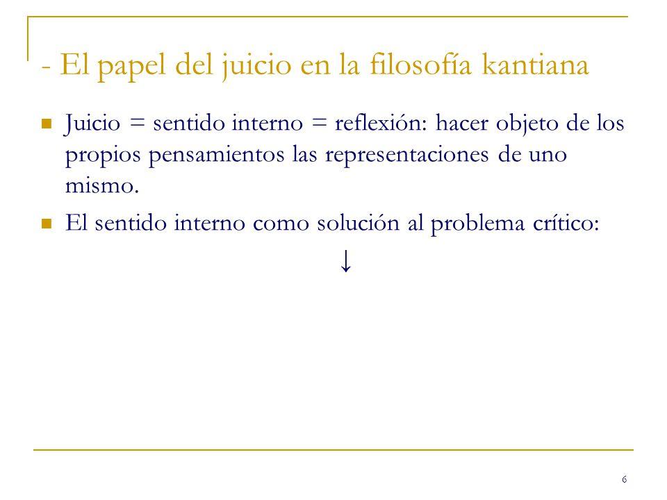 6 - El papel del juicio en la filosofía kantiana Juicio = sentido interno = reflexión: hacer objeto de los propios pensamientos las representaciones de uno mismo.