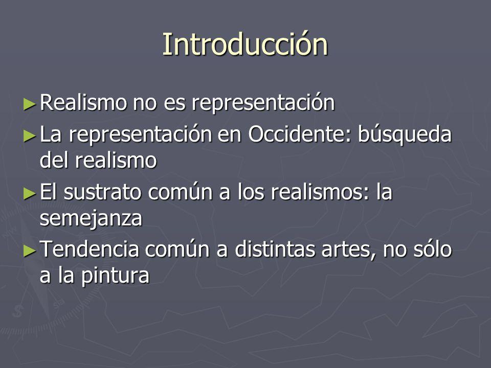 Introducción Realismo no es representación Realismo no es representación La representación en Occidente: búsqueda del realismo La representación en Oc