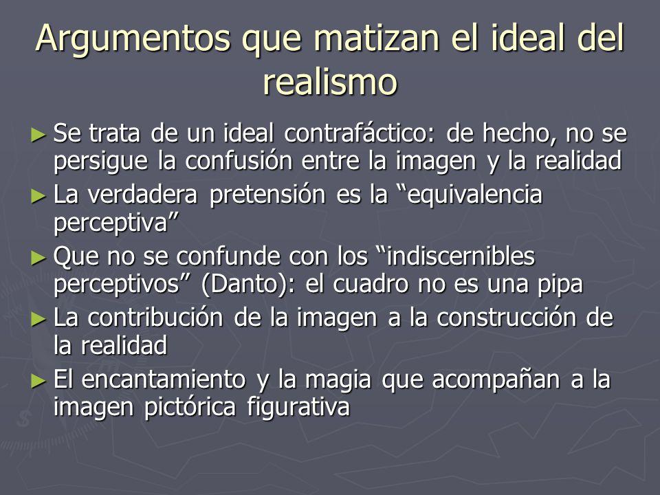 Argumentos que matizan el ideal del realismo Se trata de un ideal contrafáctico: de hecho, no se persigue la confusión entre la imagen y la realidad S