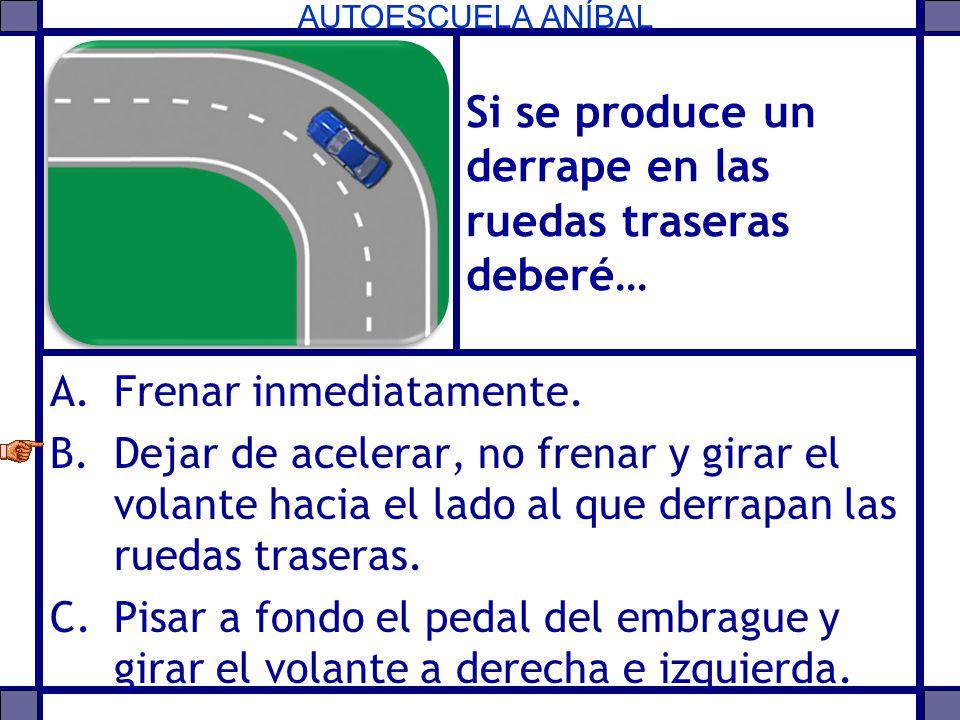 AUTOESCUELA ANÍBAL Si se produce un derrape en las ruedas traseras deberé… A.Frenar inmediatamente. B.Dejar de acelerar, no frenar y girar el volante
