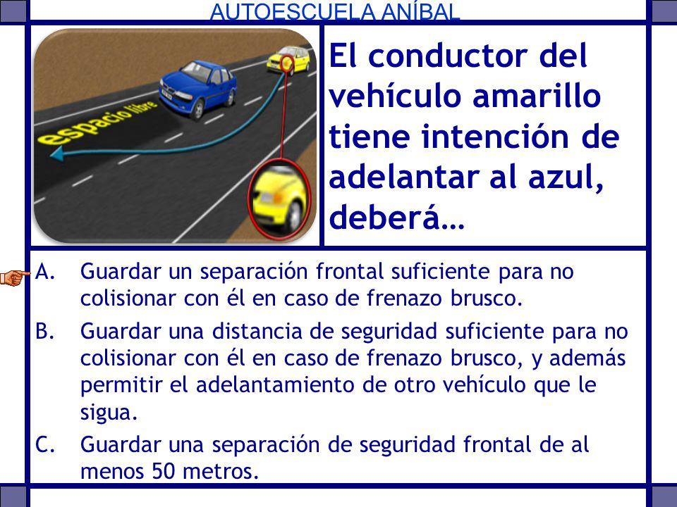 AUTOESCUELA ANÍBAL El conductor del vehículo amarillo tiene intención de adelantar al azul, deberá… A.Guardar un separación frontal suficiente para no