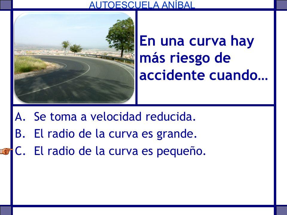 AUTOESCUELA ANÍBAL En una curva hay más riesgo de accidente cuando… A.Se toma a velocidad reducida. B.El radio de la curva es grande. C.El radio de la